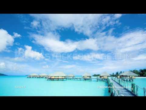 Time-lapse of stilt huts on water, Bora Bora, Tahiti