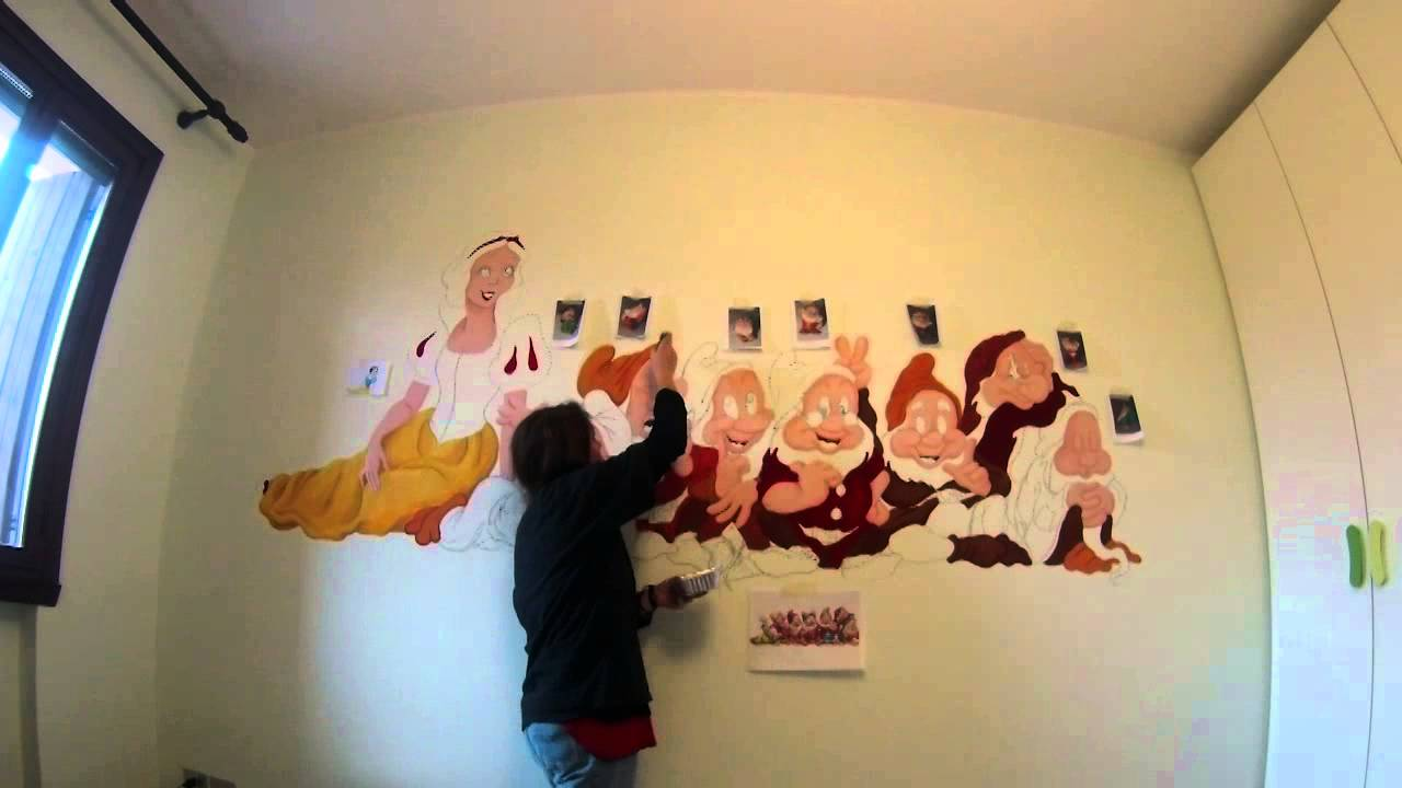 WALL ART PAINTING by Yu Gin (GoPro time lapse) - Snow White and the ...
