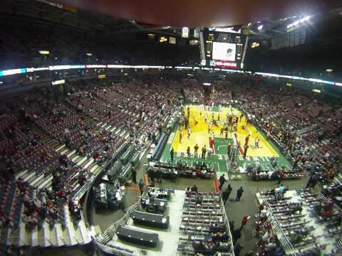 Soaring high inside the Bradley Center is the Milwaukee Bucks Blimp Cam