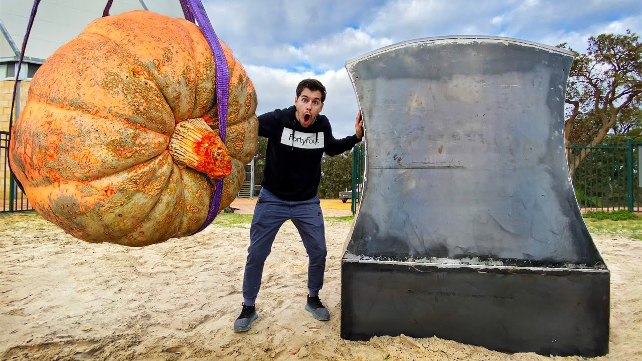 AUSTRALIA'S BIGGEST PUMPKIN Vs. GIANT AXE from 45m Tower!