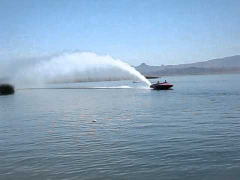 Blown Jet Boat Throwing Roost at Havasu