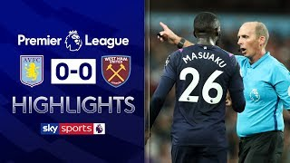 Masuaku sent off as Villa draw with West Ham | Aston Villa 0-0 West Ham | Premier League Highlights