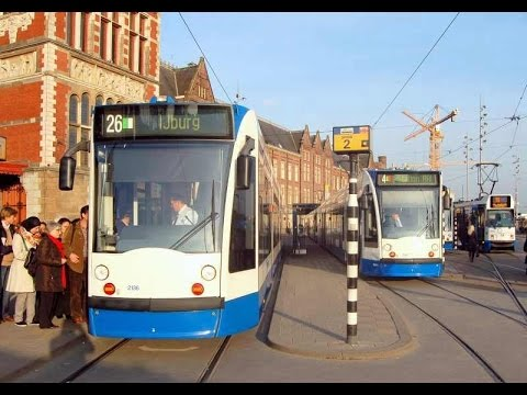 Trams at Centraal Station in Amsterdam - 2015