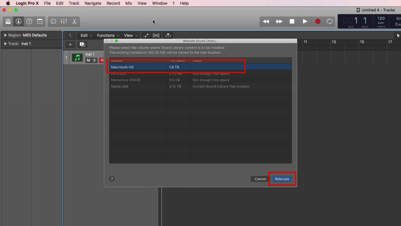 Logic Pro X 10 4 2 review/tutorial (4) Relocate Sound Library