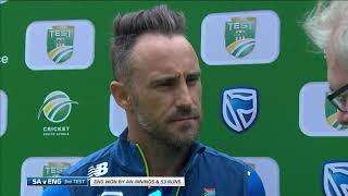 South Africa v England | 3rd Test Day 5 | Post-match interview with Faf du Plessis