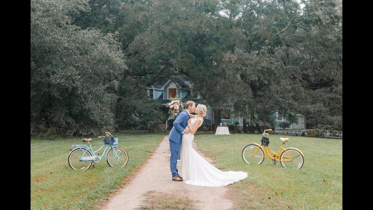 Charleston SC wedding with sunset drone of Johns island