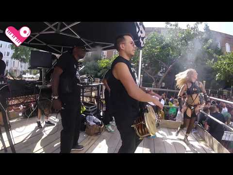 Click to watch a video of BadCat playing live bongos at Notting Hill Carnival in London.