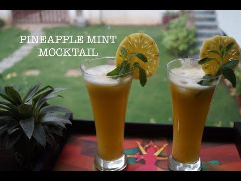 Pineapple Mint mocktail / 3 Steps Pineapple Mint fruit punch in Hindi/  3 steps रस-ऐ-अनानास