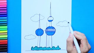 How to draw and color Kuwait Towers