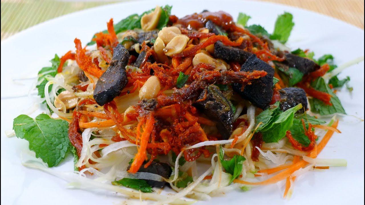 How to make Green Papaya Salad - Goi Du Du Kho Bo - YouTube