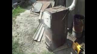 Котел переделаный на дрова из старого газового