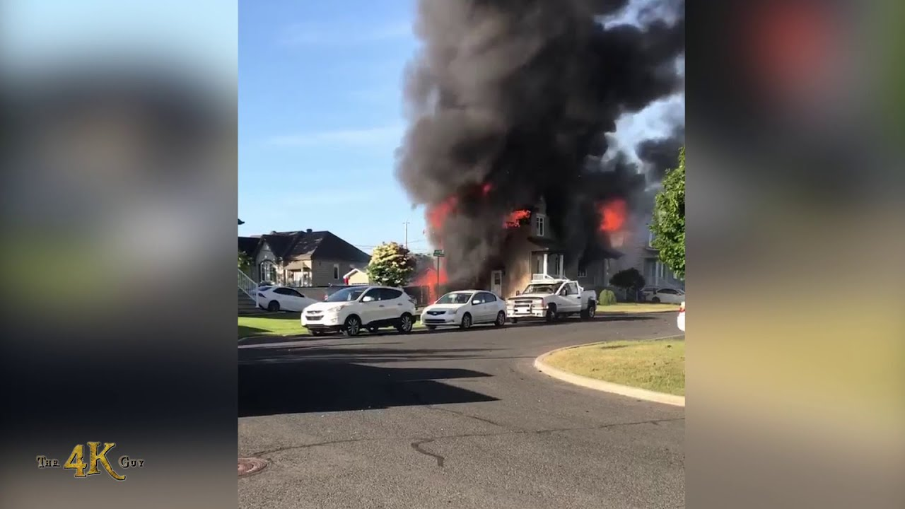 St-Amable: Pre-arrival witness cellphone video of blazing duplex fire 6-18-2021