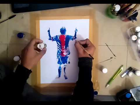 Drawing lionel messi splash art | acrylic art | poster colours | football, soccer player |