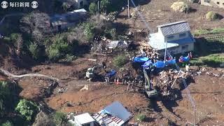 空撮・台風各地で土砂災害 不明の3人発見 群馬・富岡