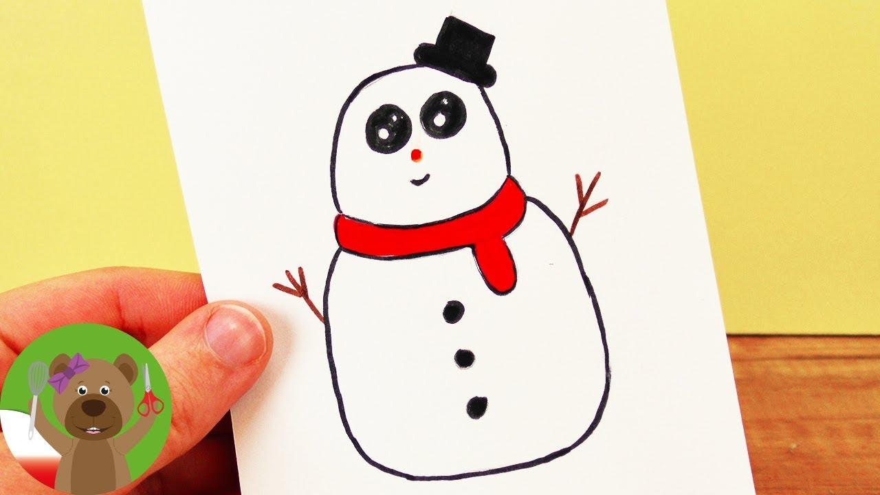 Rysowanie i Malowanie | uroczy bałwanek w stylu Kawaii | kartka świąteczna