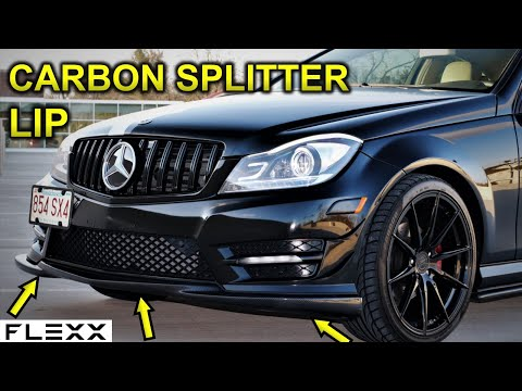 MERCEDES HOW TO INSTALL CARBON FIBER SPLITTER C CLASS W204