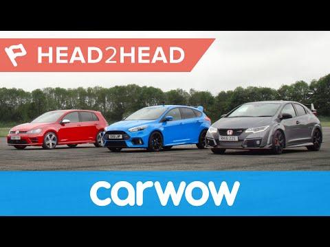 Ford Focus RS Vs Honda Civic Type R Vs VW Golf R Drag Race & Review | Head2Head