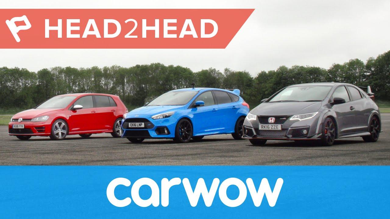 Ford Focus RS vs Honda Civic Type R vs VW Golf R drag race
