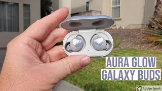 Aura Glow Silver Samsung Galaxy Buds Unboxing Setup and Overview