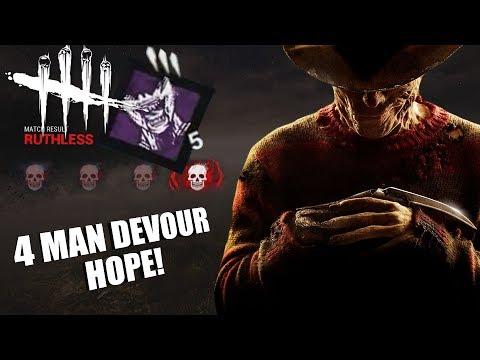 4 MAN DEVOUR HOPE! | Dead By Daylight FREDDY KRUEGER