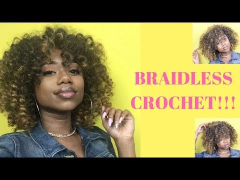 BRAIDLESS CROCHET !! REUSING OLD CROCHET HAIR || CURLY AFRO || Jamaican Bounce Braiding Hair