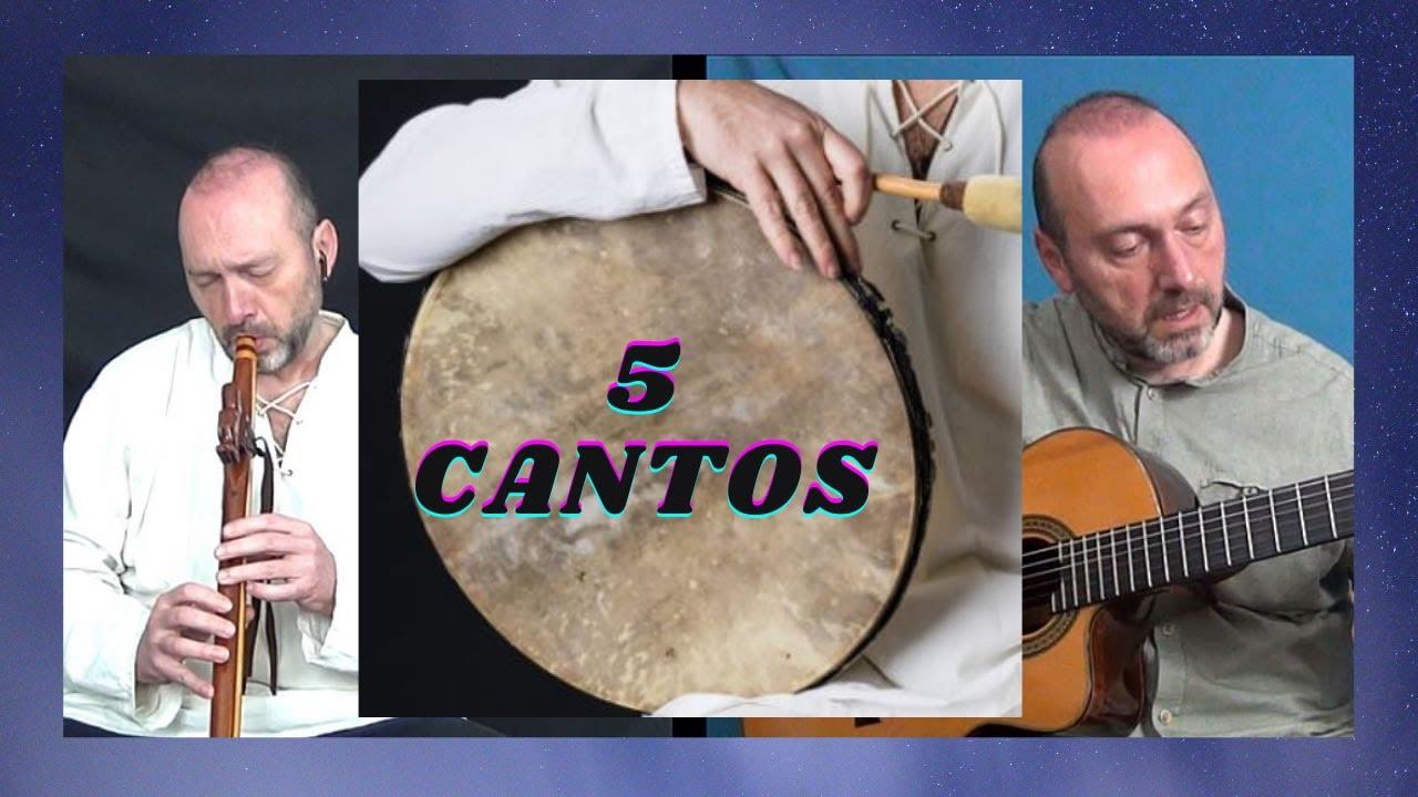 🕉 5 Cantos con Tambor, Flauta y Guitarra 🟤 (Mantras Hindúes, Cantos Nativos, Blues y más....)