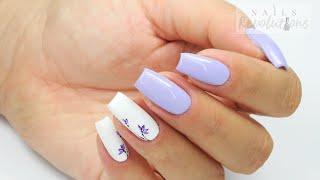 Easy delicate Purple flowers nails art Tutorial / Bluesky Polska