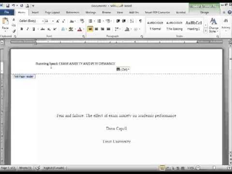 Creating an APA Header - YouTube