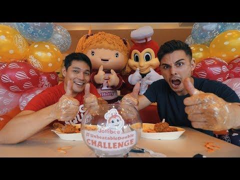THE THUMBS ONLY JOLLIBEE CHALLENGE✊👍😊 (FILIPINO fast food)