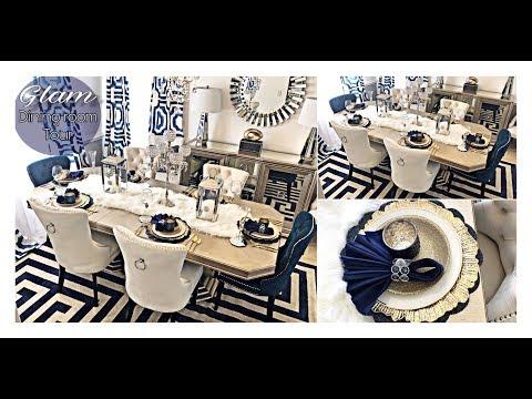 GLAM DINING ROOM MAKEOVER TOUR 2019! Designer Inspired