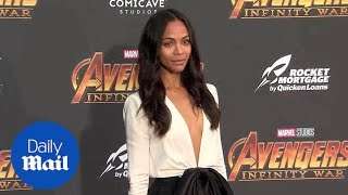 Zoe Saldana arrives solo at the Avengers Infinity War premiere - Daily Mail thumbnail
