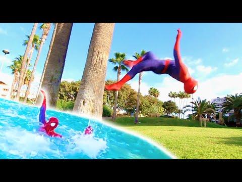 SPIDERMAN GOES SWIMMING in Real life | Flips & Kicks