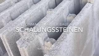 Betonmauer selber bauen Betonzaun Sichtschutz - concrete fence - verfüllen von Betoneinschallsteine