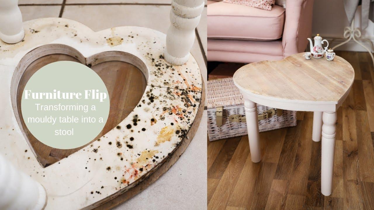 [VIDEO] - Mouldy furniture, thrift  flip, Love heart stool DIY 3