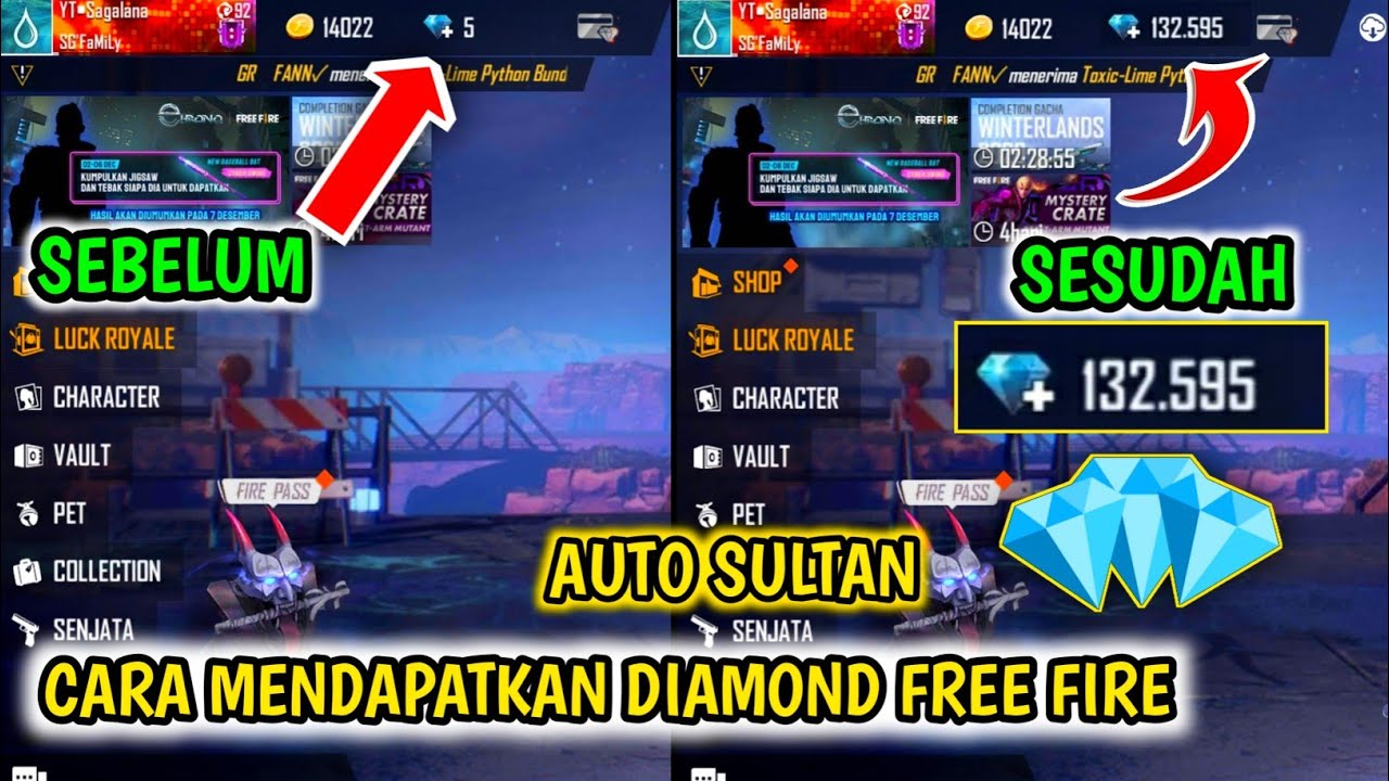 Cara Mendapatkan Diamond Gratis Di Free Fire Terbaru 2020 Cara Dapat Diamond Ff Terbaru Youtube