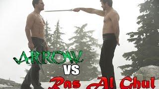 "The Arrow vs Ras Al Ghul -Full Fight - Arrow 3x 09 ""The Climb"""