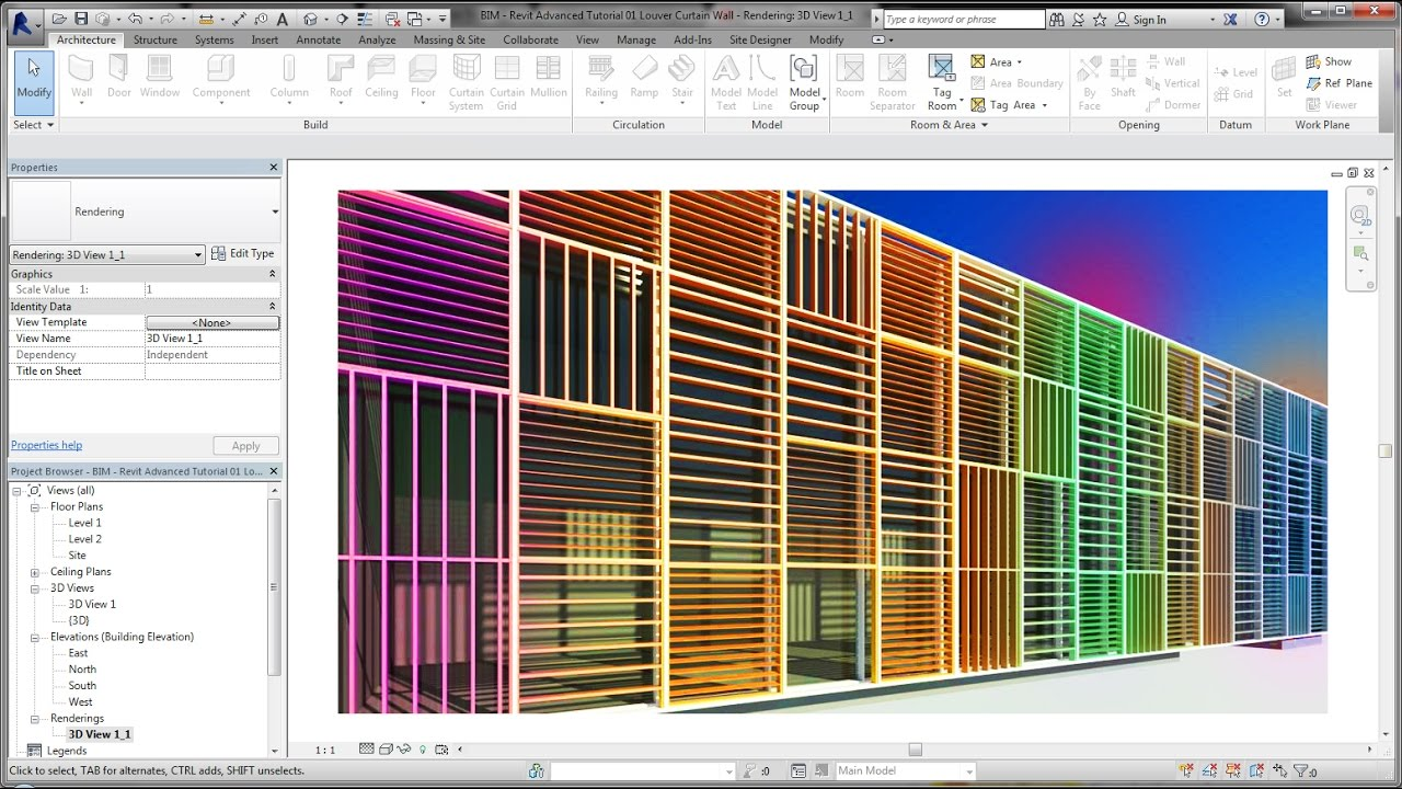 BIM - Revit Advanced Tutorial 01 Louver Curtain Wall