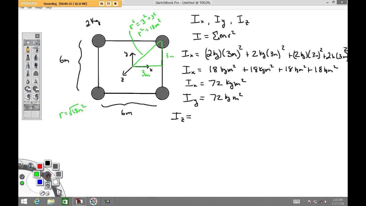 Moment Of Inertia Example 1 Youtube