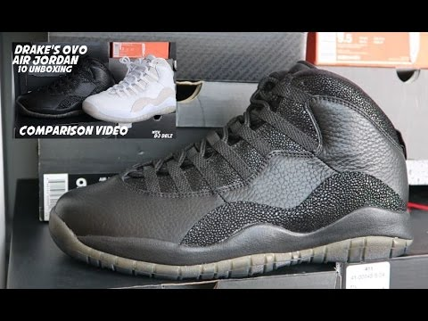 60c5e110bcbe Unboxing Drake Air Jordan OVO 10 Black Sneakers + Comparison With White  colorway
