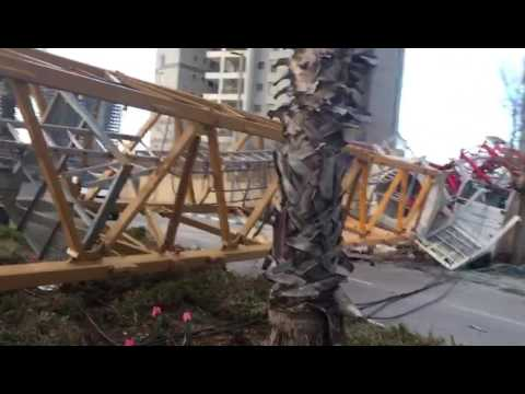 Crane crashes in Bat Yam