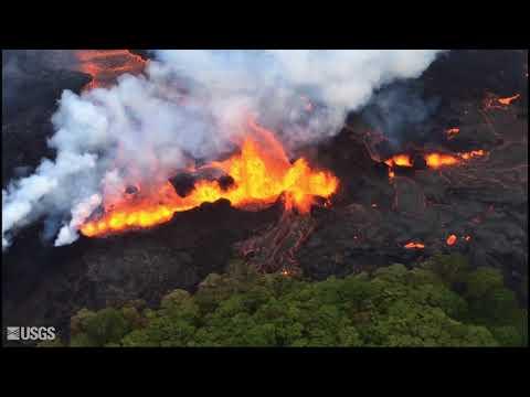 USGS overflight video of Kilauea lava activity near fissure 20