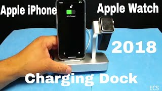 iVAPO Aluminum Apple Watch Charging Dock & iPhone Charger Station for Apple Watch & iPhone X & More