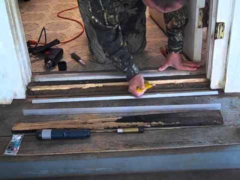 Door threshold repair youtube for How to install a threshold for an exterior door