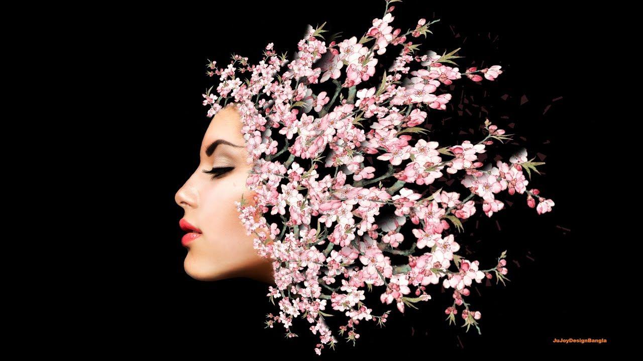 Photoshop tutorial flower effects portrait your image Ju Joy Design Bangla