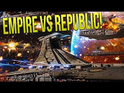 EMPIRE SUPER STAR DESTROYER vs REPUBLIC VENATORS - Star Wars Empire at War [Yoden Mod]
