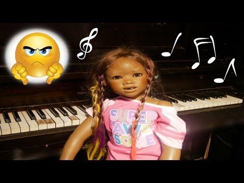 Silicone Baby Big Sister MALIA vs PIANO! Fake Toy Play Video + Reborn Kid Malia!