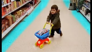Alex doing Shopping at the Supermarket Kid Size Shopping Cart
