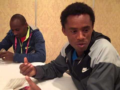 Feyisa Lilesa And Tadese Tola Ahead Of The 2014 Chicago Marathon