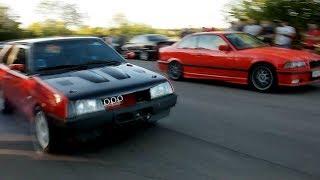 Бешеный ВАЗ 2108 на дросселях против BMW 330 и турбо ВАЗ