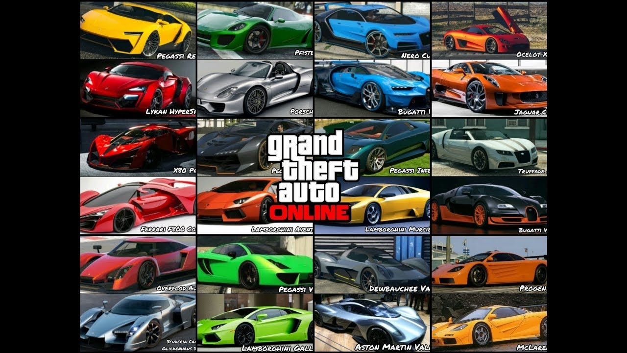 Gta 5 Online All Supercars Names In Real Life Youtube